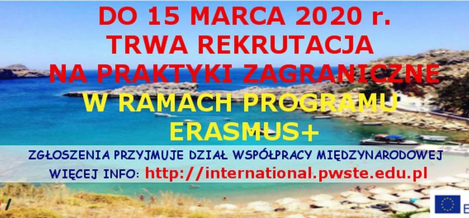 Do 15 marca 2020 r. trwa rekrutacja na praktyki zagraniczne realizowane w ramach programu ERASMUS+ w roku akademickim 2019/2020
