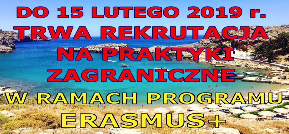 Do 15 lutego 2019 r. trwa rekrutacja na praktyki zagraniczne realizowane w ramach programu ERASMUS+ w roku akademickim 2018/2019