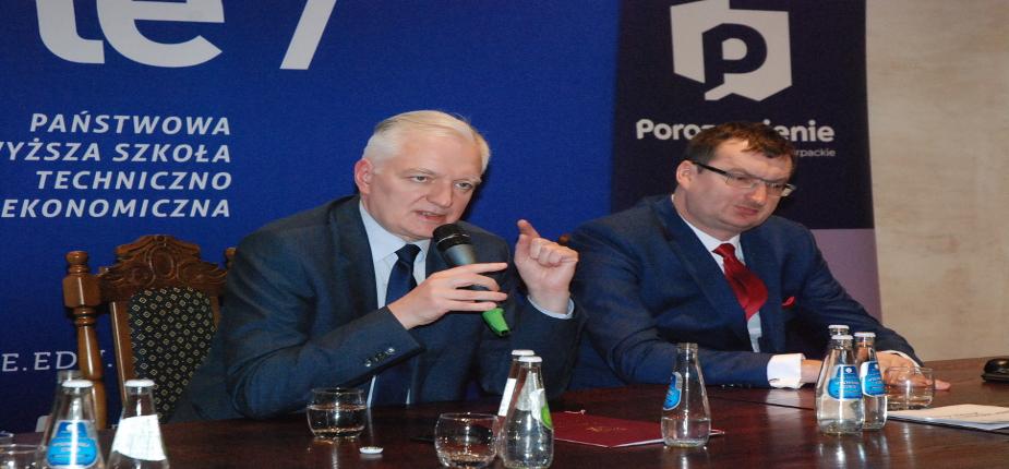Jarosław Gowin, Wiceprezes Rady Ministrów, Minister Nauki i Szkolnictwa Wyższego z wizytą w PWSTE w Jarosławiu